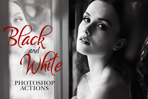 free black and white photoshop actions poster girl