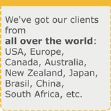 We work with USA, UK, Europe, Australia, Canada