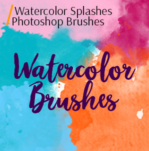 free photoshop Pencil brushes watercolor splashes photoshop cover