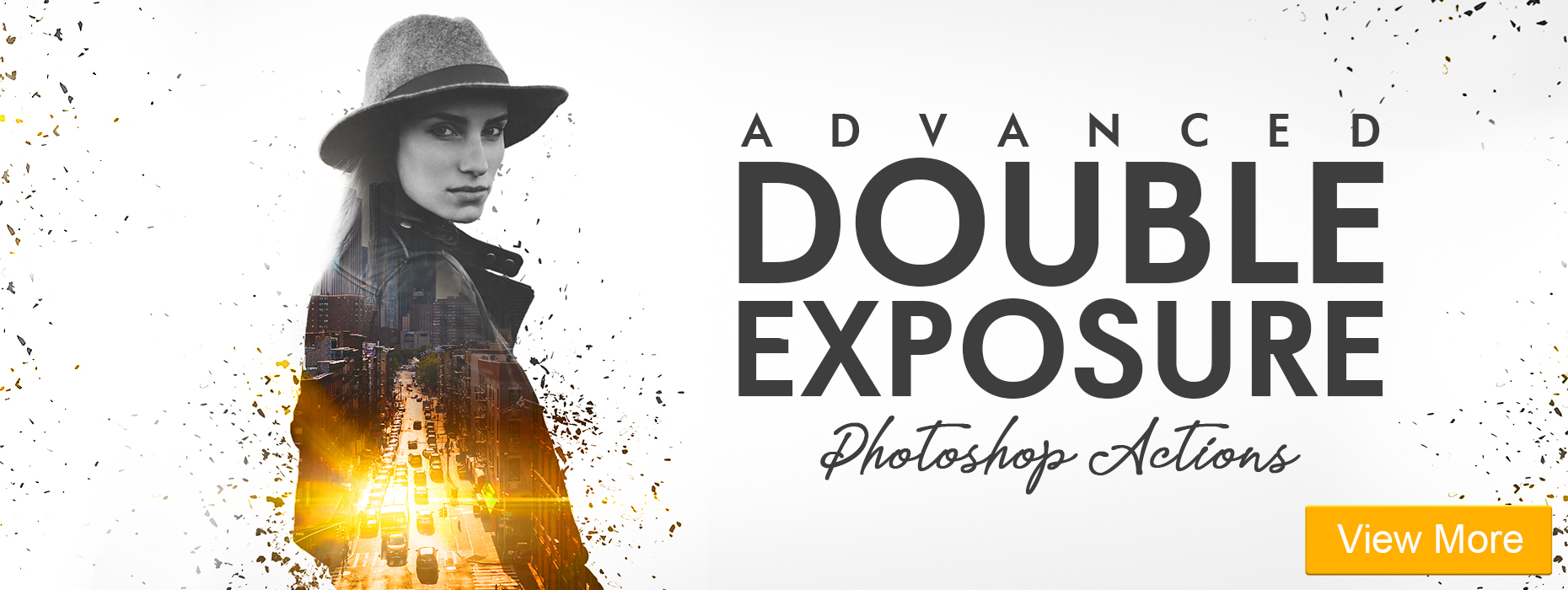 free black and white photoshop actions advanced double exposure banner girl