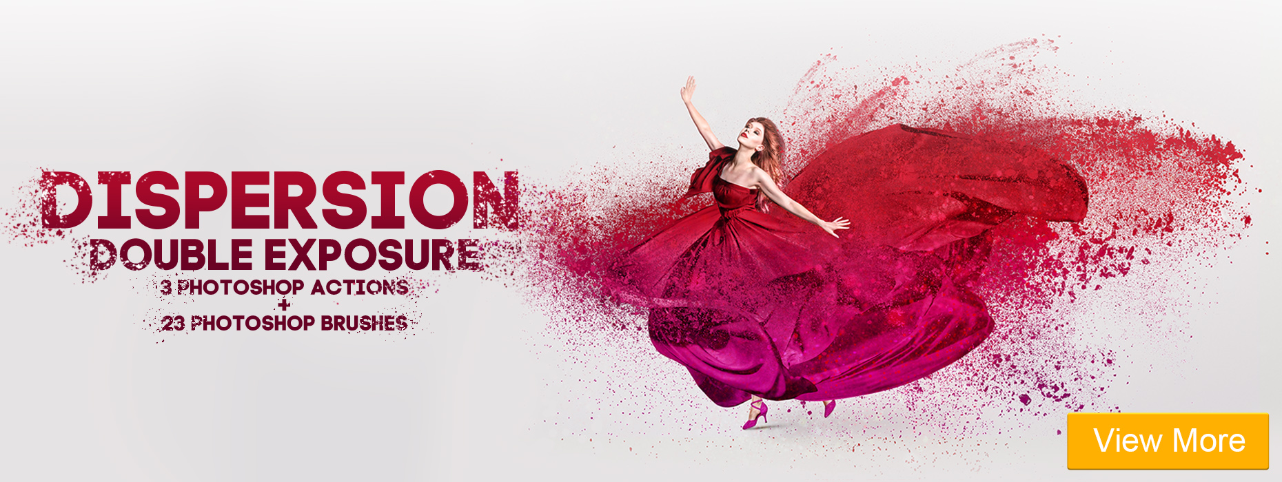 free hdr photoshop action dispersion double exposure banner woman in red
