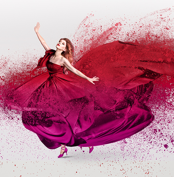 free hdr photoshop action dispersion double exposure cover woman in red