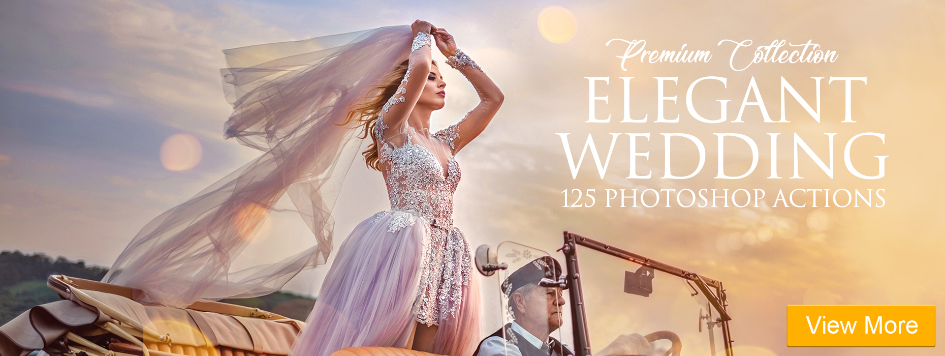best free photoshop actions elegant wedding actions banner girl in wedding dress in a car