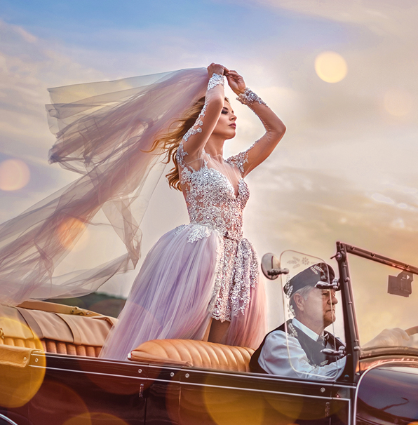 free vintage photoshop actions elegant wedding actions cover girl in wedding dress in a car