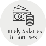 Timely salaries & bonuses money