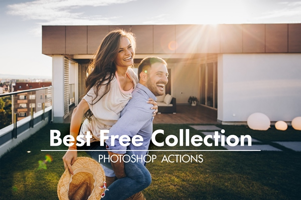 best free photoshop actions poster happy couple