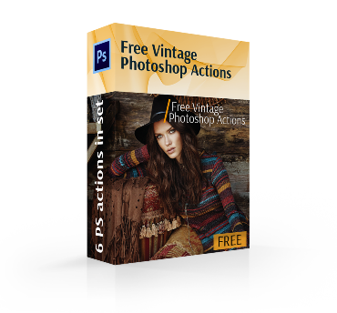 free vintage photoshop actions cover box