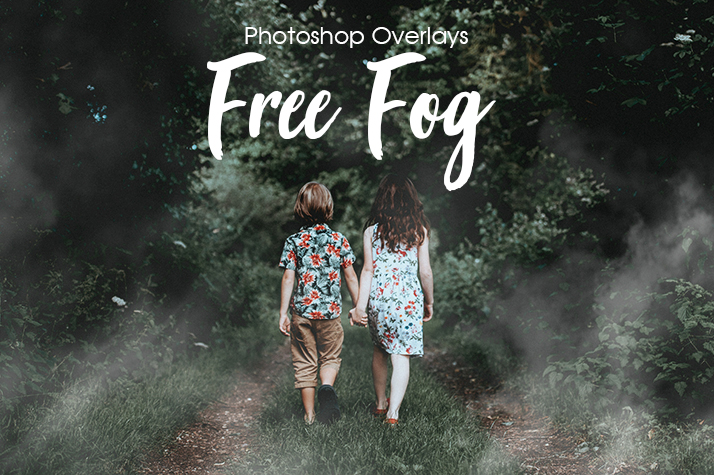 free fog overlays for photoshop poster kids in woods