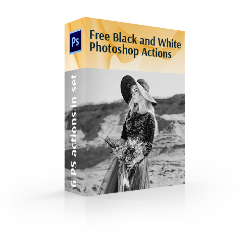 free black and white photoshop actions cover box girl