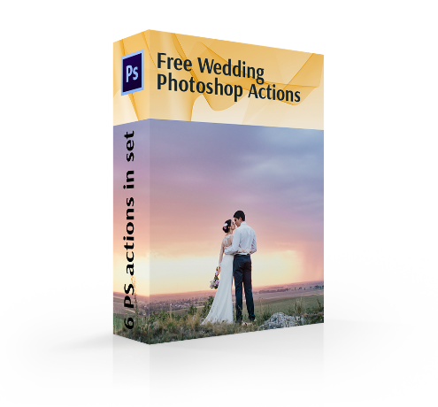 free photoshop actions wedding cover box couple