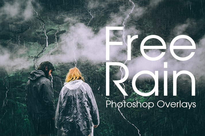 free rain overlay photoshop poster couple nature