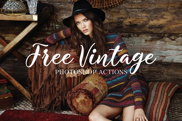 free vintage photoshop actions poster girl