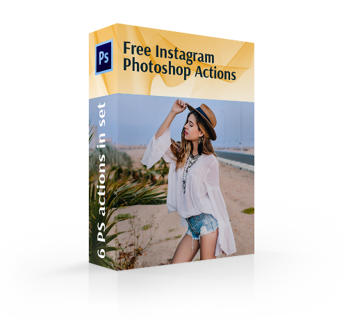 free instagram photoshop actions cover box girl makes photo