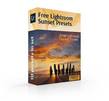free lightroom sunset preset cover box