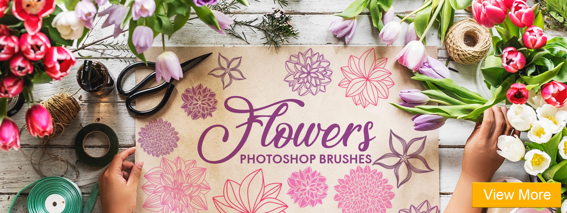 free photoshop Pencil brushes flowers photoshop brushes banner