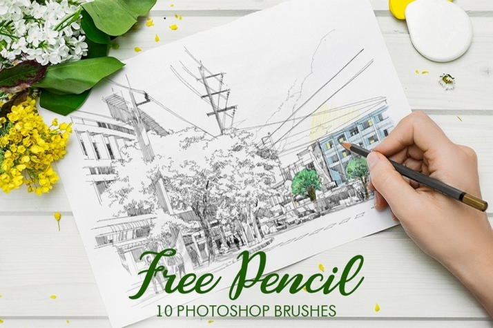 free photoshop Pencil brushes free poster