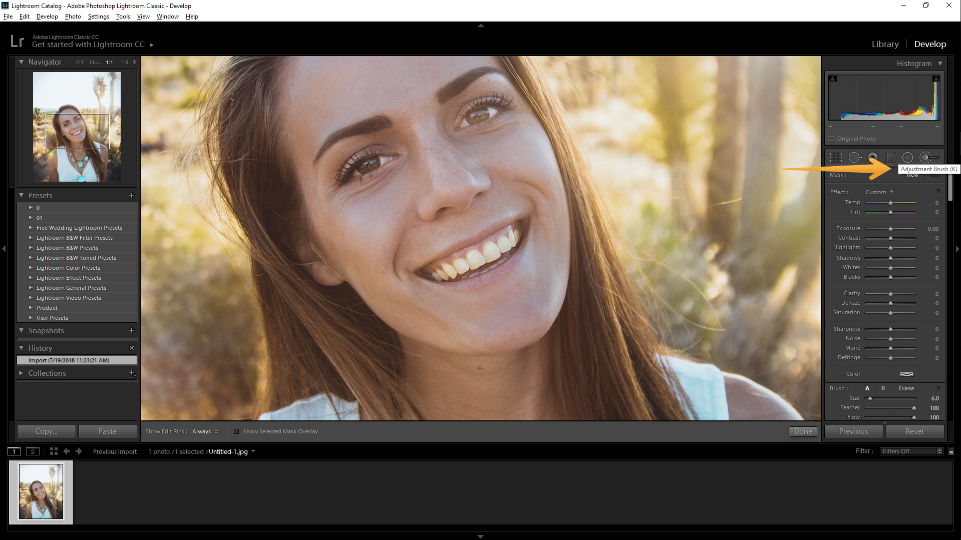 how to white teeth in lightroom step