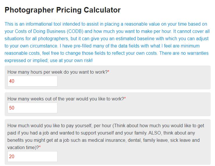 photography pricing calculator