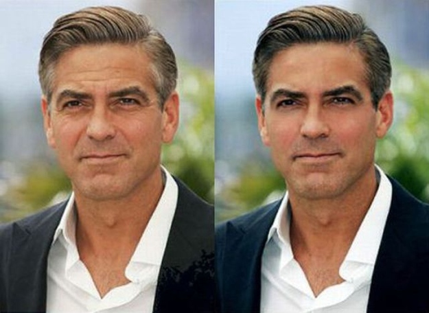 George Clooney before-after Photoshop