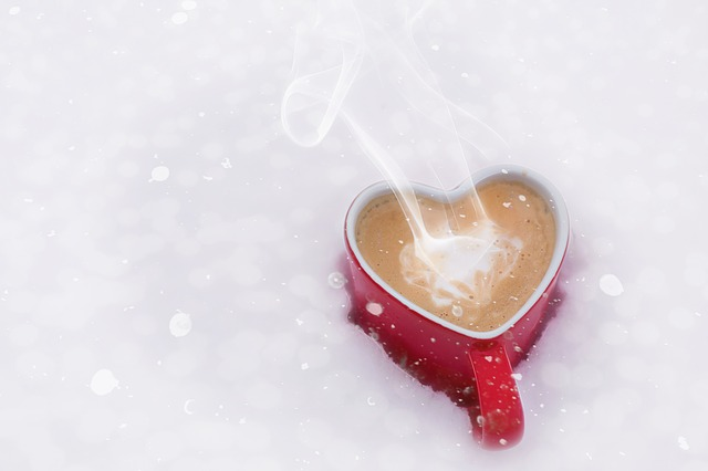Hot coffee on the cold snow