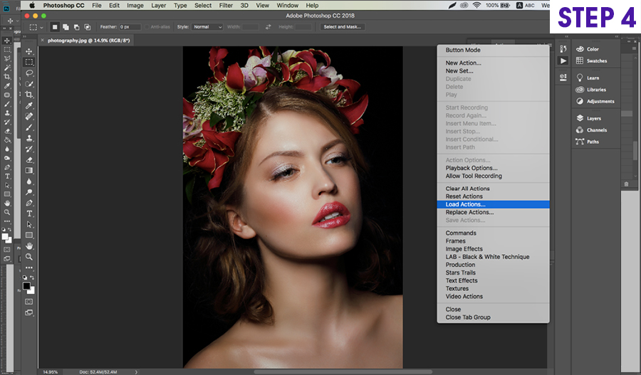 how to install on photoshop actions on Mac