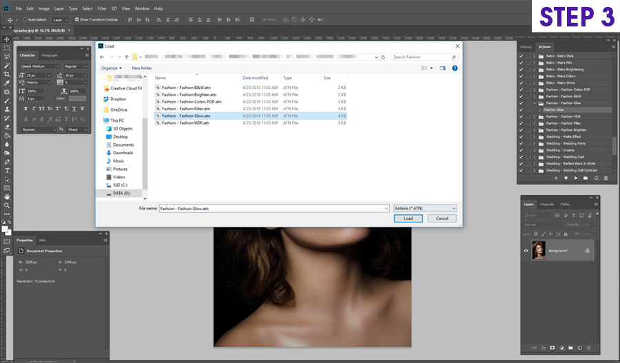 how to install on photoshop actions on Windows