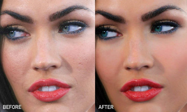 Megan Fox before-after Photoshop