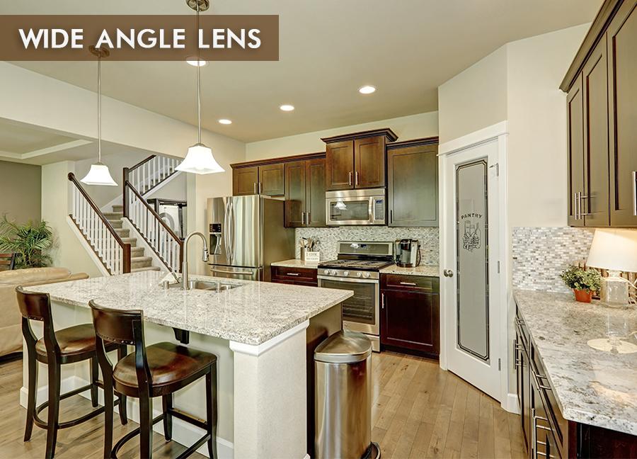 Wide Angle Lens Interior. Regular Lens Photo Interior