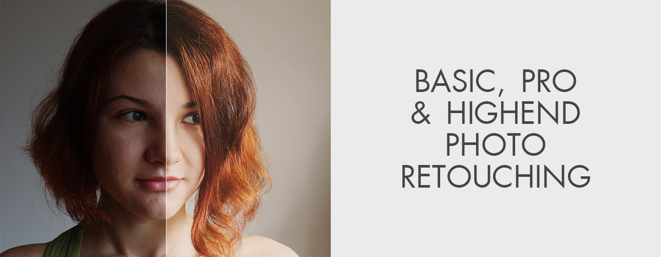 Basic, Pro and High End Level of Photo Retouching Examples in One Image