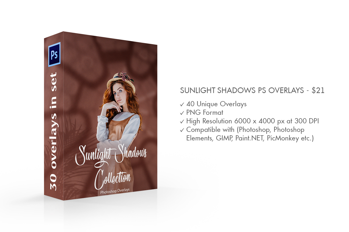 Sunlight Shadows Photoshop Overlays – 40 Unique Overlays in PNG format